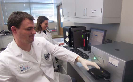 DNA Analysis team members load Cystic Fibrosis samples for analysis