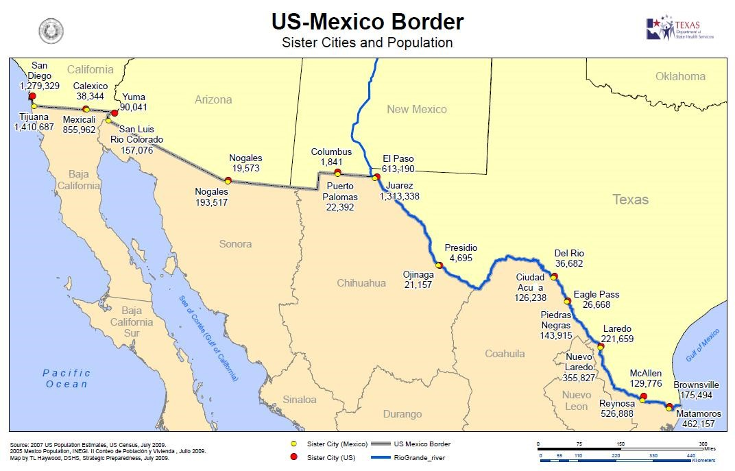 US-Mexico Border sister cities and population