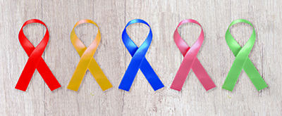 Multi-colored cancer ribbons.