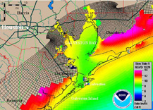 Mapping the effect of storm surge near Galveston