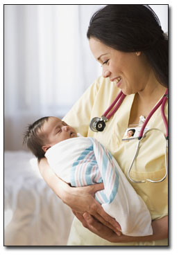 Nurse and newborn