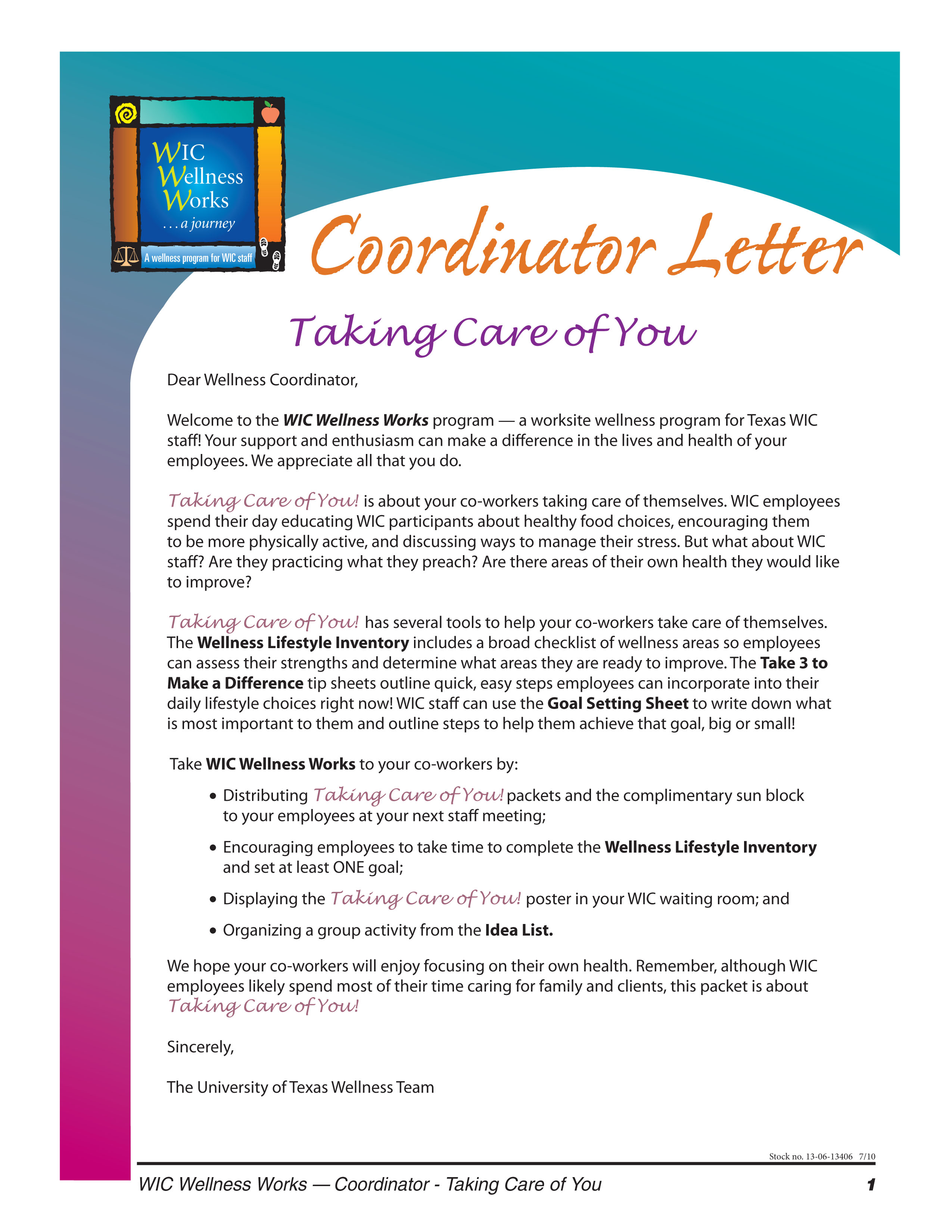 Taking Care of You Coordinator Packet