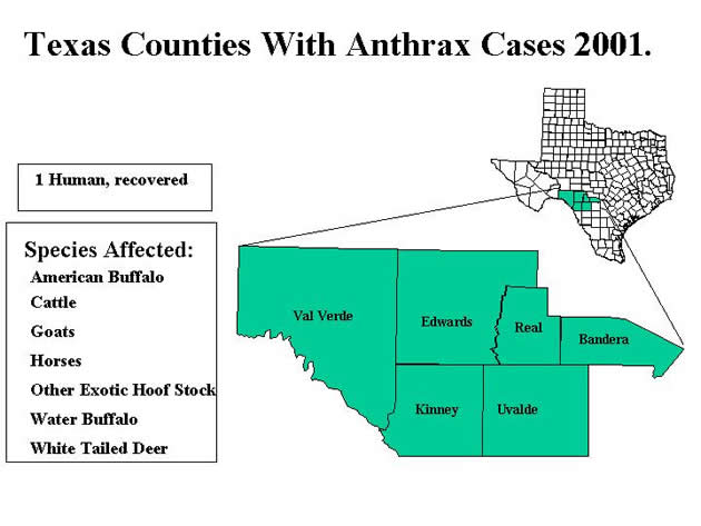 Texas Counties with Anthrax Cases 2001