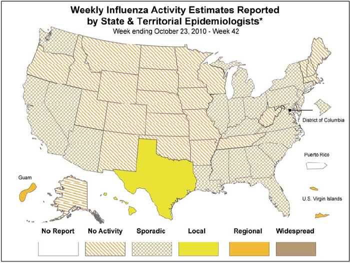 Influenza in USA Map