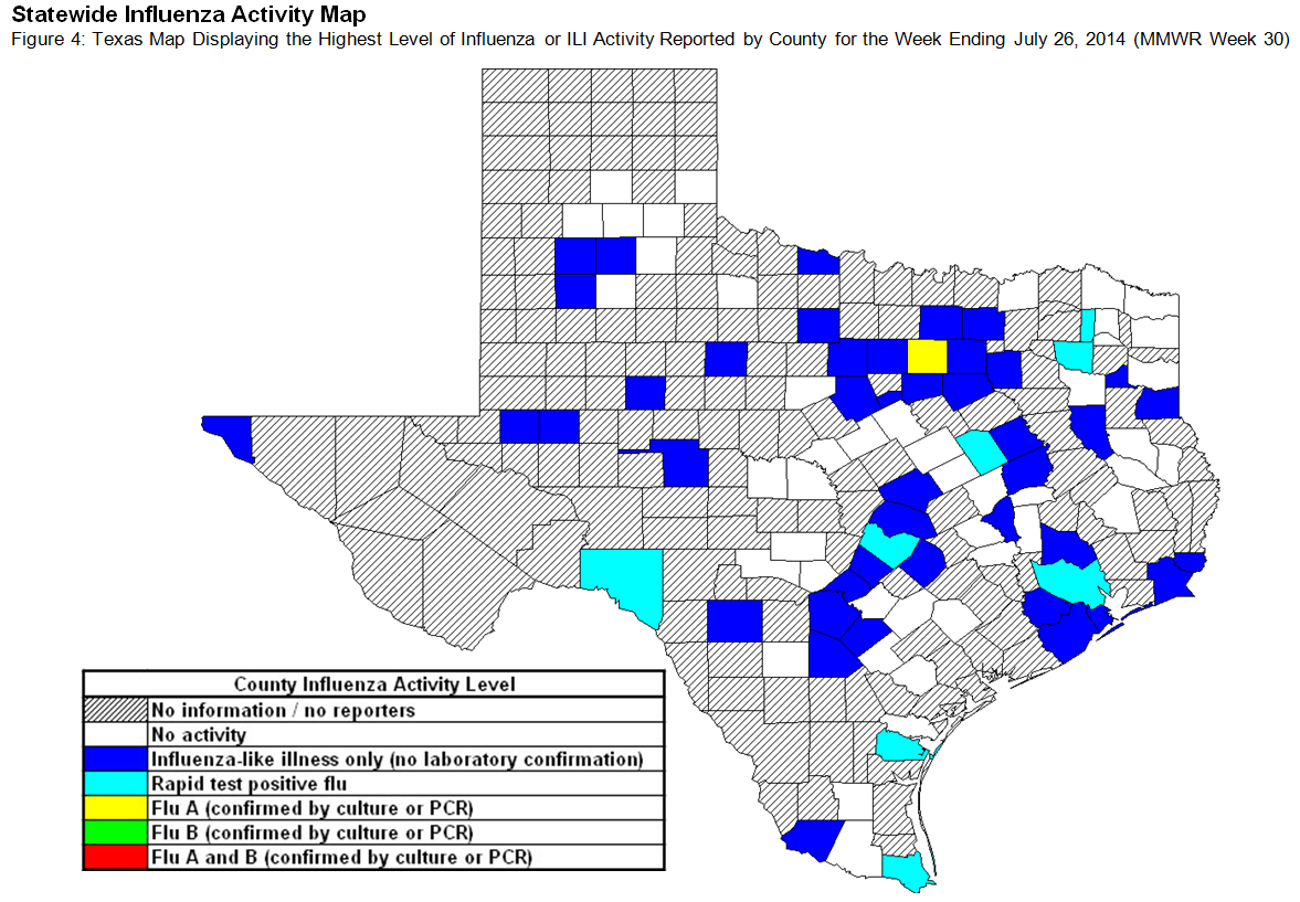 Texas Influenza Activity Map