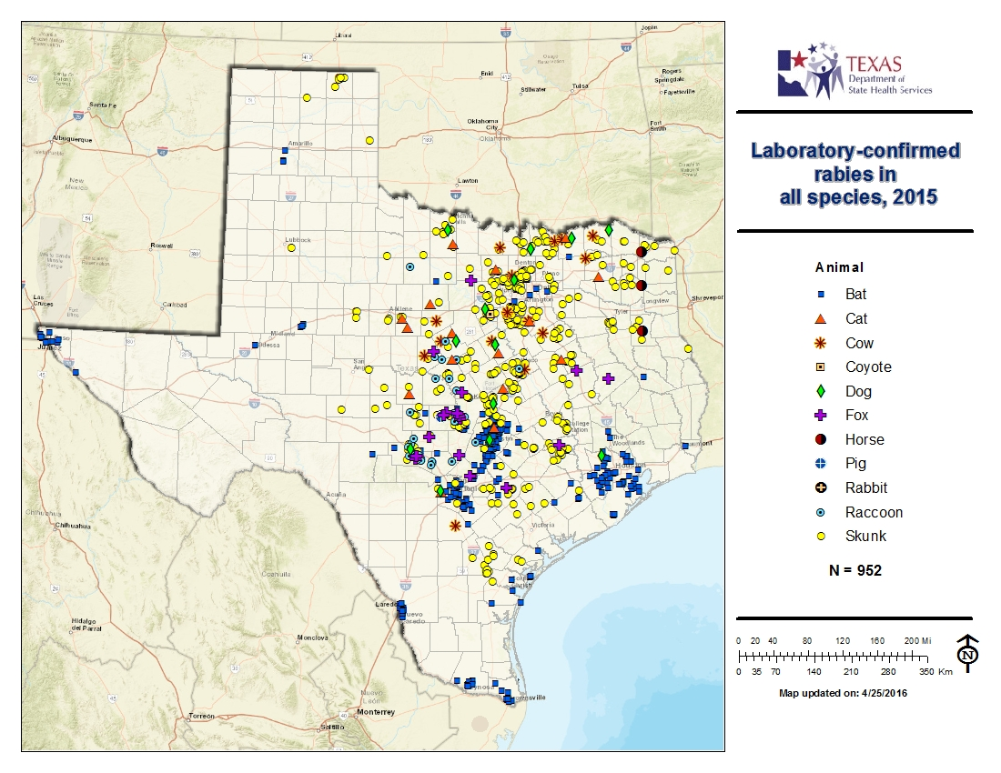 Map Of Texas 2015.Rabies Maps For 2015