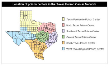 Location of poison centers in Texas Poison Center Network
