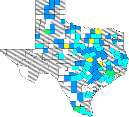 Influenza in Texas Map