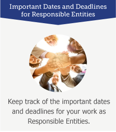 Important Dates and Deadlines for Responsible Entities: Keep track of the most important dates and deadlines for your work as Responsible Entities