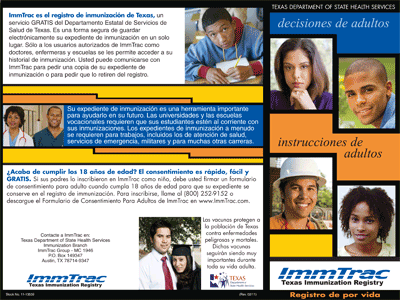 ImmTrac Brochure for Adults - side 2 (Spanish)