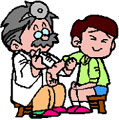 Cartoon of a doctor giving a boy a vaccination