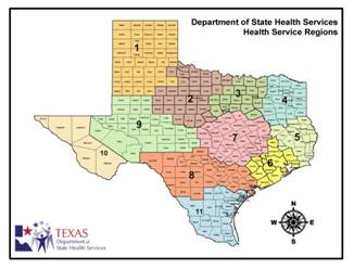 Map of Texas Health Regions