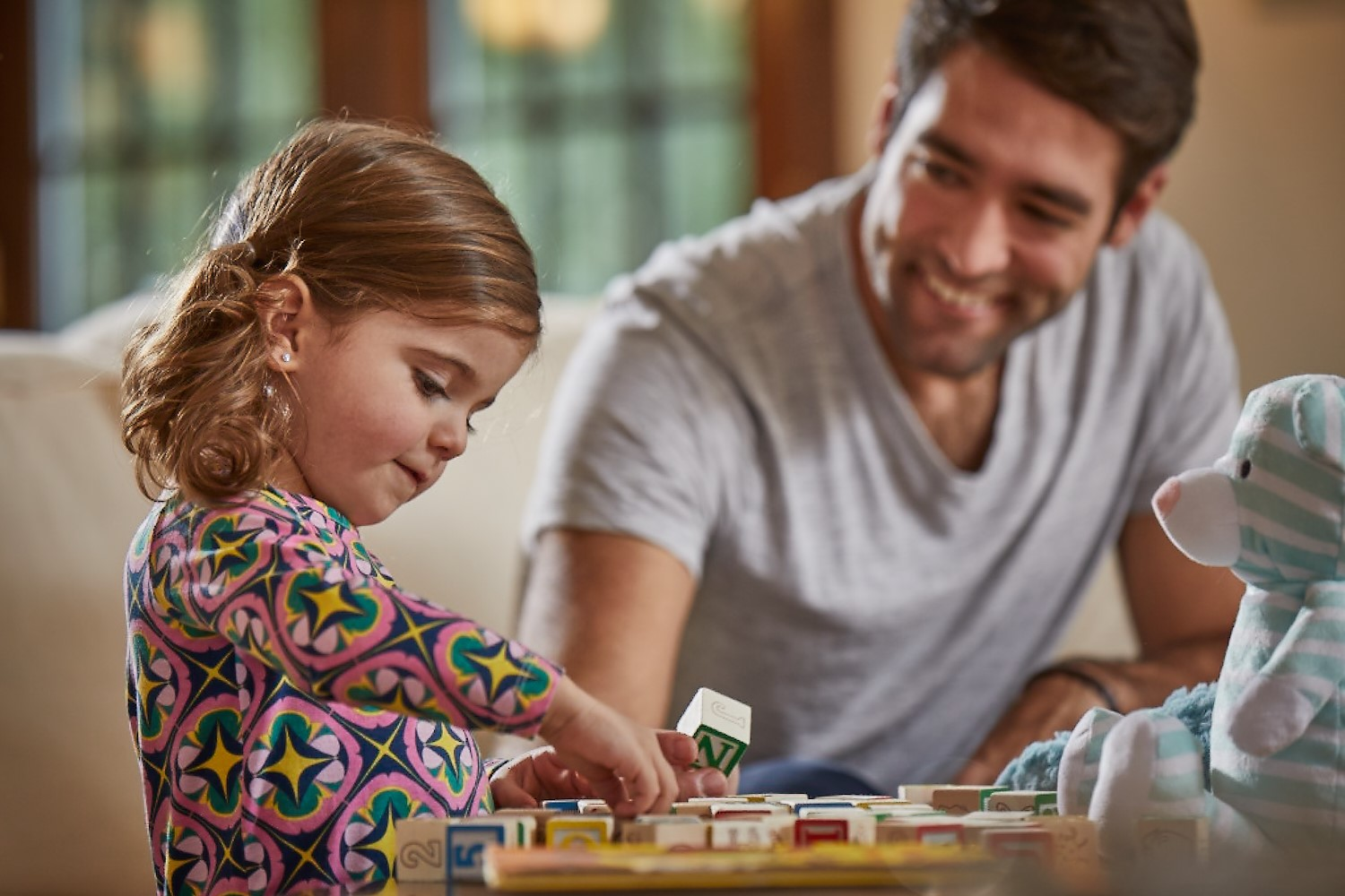 Back to School Page - Little Girl w Blocks and Dad