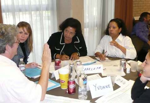 Photo of discussion group (Judy Chrisman, Morgan Walthall, Charleta Guillory, Donna Williams, and Yvonne Caimanque)