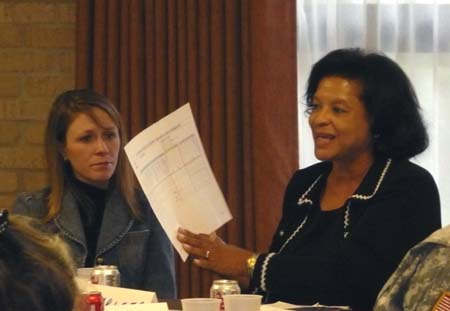 Photo of Charleta Guillory reporting discussion group results with group member Morgan Walthall listening