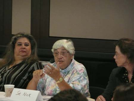 Sister Nick participates in the discussion with Donna Claeys and Margaret Drummond-Borg listening