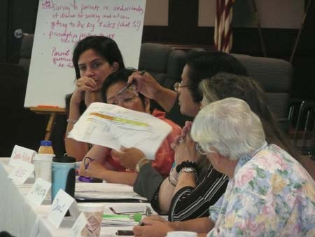 Charleta Guillory demonstrates a point on a handout with Sandra Billings, Donna Claeys, Sister Nick, and Margaret Drummond-Borg listening