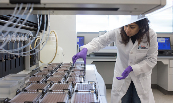 A laboratorian arranges biotinidase deficiency screening test plates on a liquid handler. Photo courtesy of Andrew Vinyard.