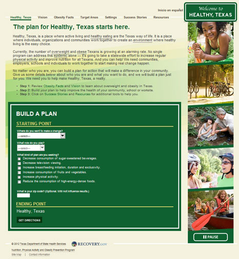 Plan Healthy, Texas website screenshot