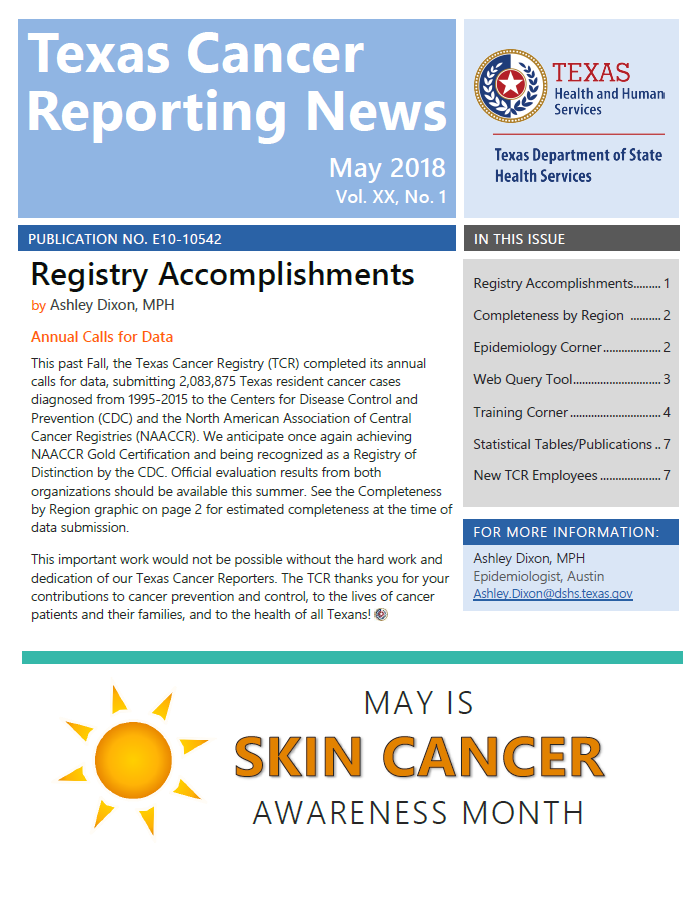 TCRN May 2018 Newsletter