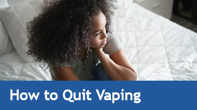 Photo of teen in bedroom - link to How to Quit Vaping page