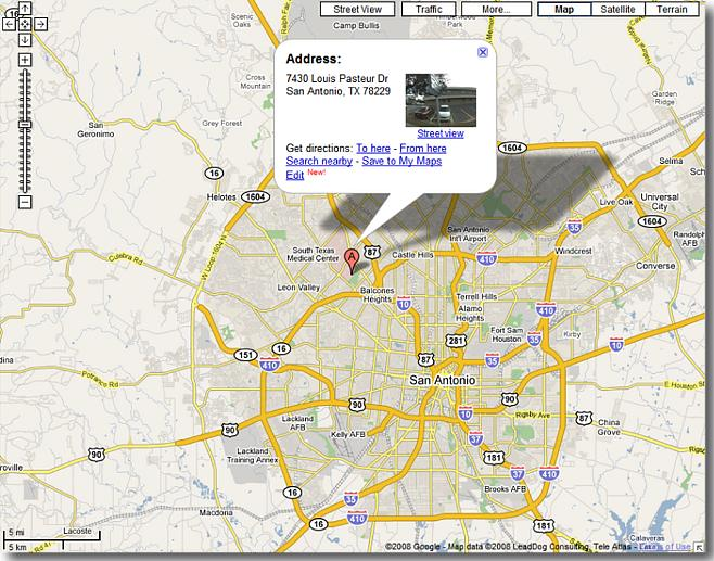Area Map to DSHS/Region 8 HQ at 7430 Louis Pasteur, San Antonio, TX 78229