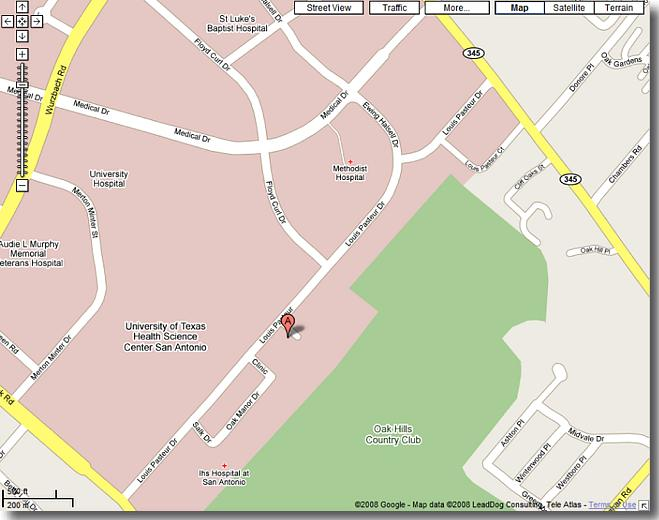 Mid Area Map to DSHS/Region 8 HQ at 7430 Louis Pasteur, San Antonio, TX 78229